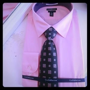 Other - New! Pink Dress Shirt with tie